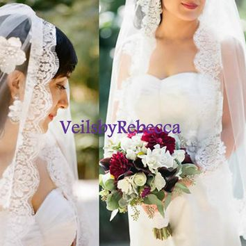 Fingertip Lace Veil- Elbow Lace Veil-Hip Lace Veil-Short Lace Veil-1 tier Lace Fingertip Wedding Veil-Chantilly Lace Veil V632