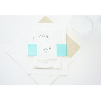 Ivory, Mint and Gold Wedding Invitation - DEPOSIT