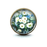 10% SALE - Ring White Flowers in Blue background fields and gardens style