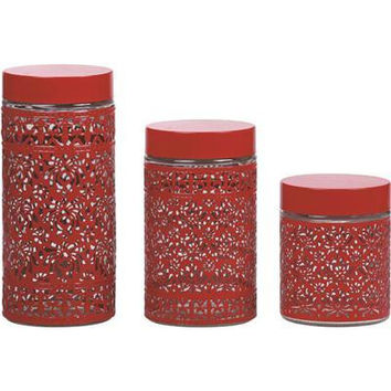 3pc Glass Canister Set Ss Red