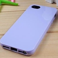 New Protective Silicone Soft Rubber TPU Skin Case Cover For iPhone 5 5G 5th 5S Light purple