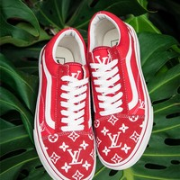Vans x Supreme x Louis Old Skool Red Casual Sport Shoes Sneakers