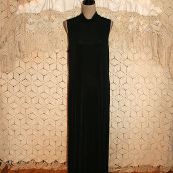 Sleeveless Black Maxi Dress Slinky Knit Dress Long Black Dress Sleeveless Dress Chicos Traveler Size 14 Size 16 XL 1X Plus Size Clothing