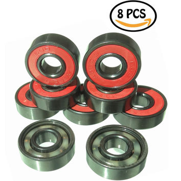 Mini Skater Generic Stainless Steel Skate Ball Bearing Deck Longboard Bearings Abec 9 Precision608 Zz8 Pcs/Pack (Black Red)