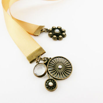High Wheel Bicyle Charm Bookmark | Handmade Gift for Reader | Gold Ribbon Bookmark | Pretty Gift for Booklover | Satin Ribbon Bookmark