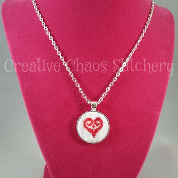 Cross Stitch Necklace - Heart