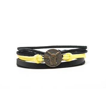 Pikachu Pokemon Rope and Leather Adjustable Unisex Charm Bracelet