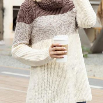 New Coffee White Patchwork Cowl Neck Long Sleeve Casual Pullover Sweater