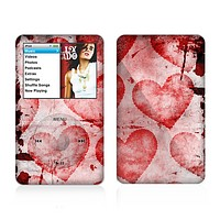 The Grunge Dark & Light Red Hearts Skin For The Apple iPod Classic