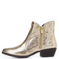 Qupid Metallic Almond Toe Ankle Boots by Charlotte Russe