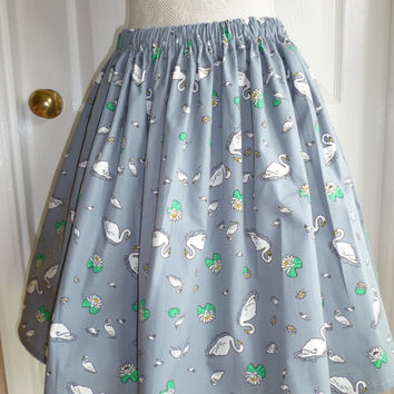 Cute Serene Swans Retro 50s Print Rockabilly Full Flared Summer Skirt Size UK 14/16 US 8/10