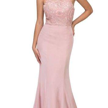 Blush Halter Mermaid Prom Gown Appliqued Bodice