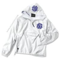 Monogrammed Solid Pullover Rain Jacket - White