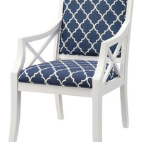 Crestview Atlantic Blue and White Accent Chair - CVFZR908