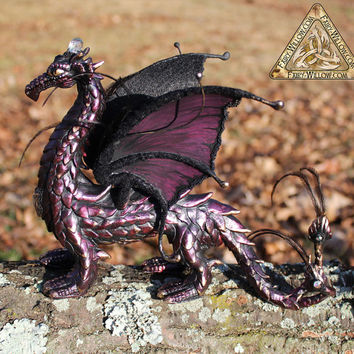 Drakonia Gothic fork tailed Dragon, OOAK Collectors Dream Dragon with embedded Swarovski crystals, Colors are Wine and Black