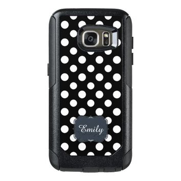 Black and White Polka Dot Pattern Monogram OtterBox Samsung Galaxy S7 Case