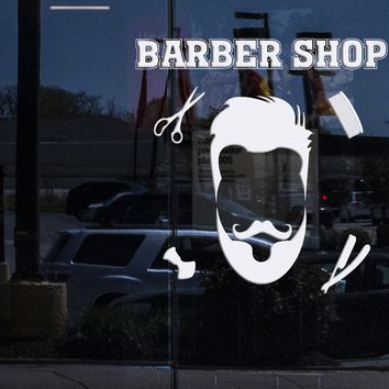 Window and  Wall Sticker Vinyl Barber Shop Haircuts for Men Barber Hairdresser Beauty Salon Hair Decor Unique Gift (n677w)