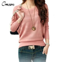 New Fashion Women Solid Hollow Out Batwing Sleeve Sweater Casual Loose Knitted Pullover Female Autumn Jumper LY137