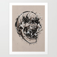 skull with demons struggling to escape Art Print by Pakowacz