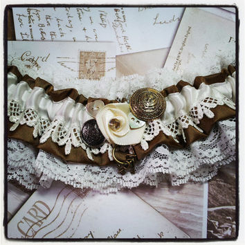 Garter - Steampunk, Wild West, Barn, Western, Vintage, Bridal, Wedding garter, brown, ivory, Venice lace, buttons, Swarovski, sparkle