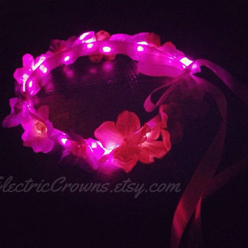 Pink LED flower crown Flower Halo Light up Headband Hippie Electric Crowns hair Accessories