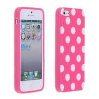 Cute White Polka Dots Pink Soft Shell Cover Case for iPhone 5