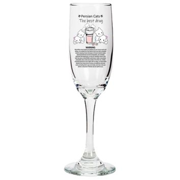 Premium Custom Designed Engraved Champagne Flute - Persian Cat Tharapy - Gift for Homemakers Who Love Wining & Dining - Decorative Glasswear Gift For Cat Lovers + Surprise Bonus