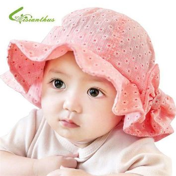 PEAP78W Newborn Baby Summer Outdoor Bucket Hat Children Bowknot Cap 100% Cotton Sun Beach Cap Cute Baby Girls Sun Hats Free Shipping
