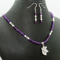 Amethyst Pearl Pave Crystal Flower Necklace Earrings Set Natural Stone Jewelry