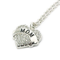 Mom Rhinestone Heart Necklace