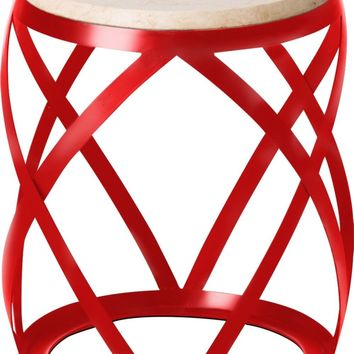 Knox Metal Stool/Table Powedercoated Red With A White Granite Top