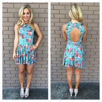 Blue Floral Traci Open Back Dress