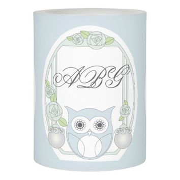 Cute Retro Owl and Roses Monogram Light Blue Flameless Candle