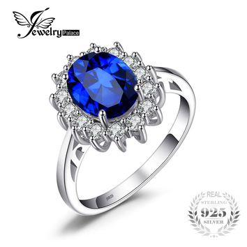 JewelryPalace Princess Diana William Kate Middleton's 3.2ct Created Blue Sapphire Engagement 925 Sterling Silver Ring