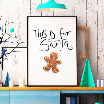 Santa print - Cookies for Santa sign -  Santa printable - Christmas decoration - Christmas decor - Holiday decor - Holiday decoration