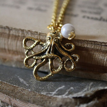Gold Octopus with Pearl Necklace