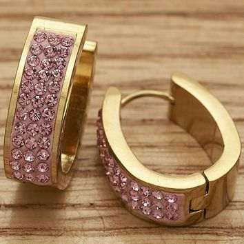 Stainless Steel Women Small Hoop, with Light Rose Swarovski Crystals, by Folks Jewelry