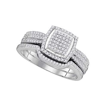 10kt White Gold Women's Round Diamond Square Cluster Bridal Wedding Engagement Ring Band Set 1/2 Cttw - FREE Shipping (US/CAN)