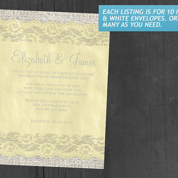 Yellow Rustic Lace Wedding Invitations | Invites | Invitation Cards