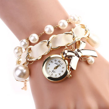 8 Colors Fashion Luxury Pearl Bow Bracelet Quartz Watches Women Casual Watch Fabric Round Ladies Classic Watch