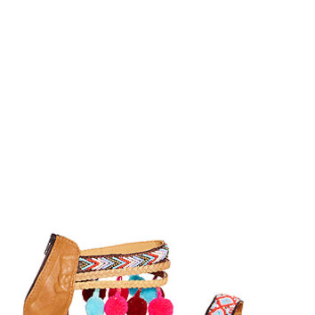 DailyLook: Z & L Embroidered Ankle Wrap Sandals in Multi-colored 6 - 9.5