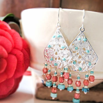 Turquoise and coral chandelier earrings, silver earrings, boho chic jewelry, fashion gift for her, filigree earrings, bold color earrings