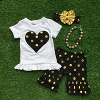 2016 Summer girls outfit black heart  set capris short sleeves baby kids boutique baby clothing with matching necklace and bow