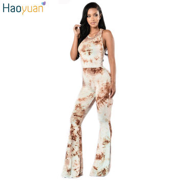 HAOYUAN Women Jumpers And Rompers Two Piece Tie Dye Jumpsuit Bodycon Off Shoulder Boot Cut Long Pants Bodysuit Casual Playsuit