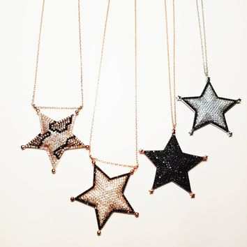 Solid 925 Sterling Silver Zirconia Sheriff Star Necklaces