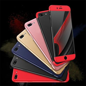 6 7 Case 3 in 1 Knight Armor Phone Cases For iphone 8 7 6 6s Plus SE 5 5S Fundas Ultra thin 360 Hard Matte Protective Back Cover
