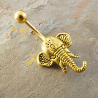 Gold Indian Elephant Belly Button Jewelry Belly Button Ring