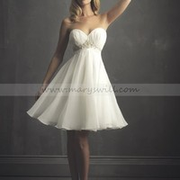 Bridal Party Dresses - Empire Sweetheart  Chiffon Wedding Dress Style 935 - Mini Wedding Dresses - Wedding Dresses - Wedding Apparel - Affordable Wedding Dresses Manufacturer