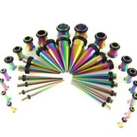 Gauges Kit 36 Pieces Rainbow Stainless Steel Tapers with Plugs 14G - 00G Stretching Kit - 18 Pairs