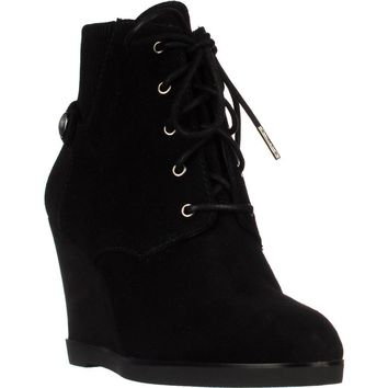 MICHAEL Michael Kors Carrigan Wedge Knit Cuff Lace Up Ankle Boots, Black, 9.5 US / 40.5 EU